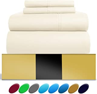 Urban Hut Egyptian Cotton Sheets Set (4 Piece) 800 Thread Count - Bedspread Deep Pocket Premium Quality Bedding Set, Luxury Bed Sheets for Hotel and Home Collection Soft Sateen Weave (King, Ivory)