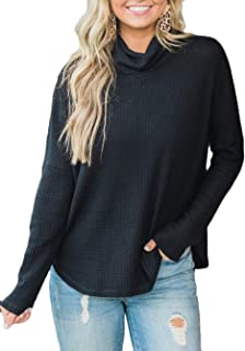 Kaei&Shi Waffle Knit Sweater for Women, Turtle Cowl Neck Tops, Cute Batwing Shirts, Loose Fit Pullover