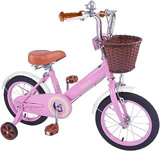 STITCH 子供用自転車 2 3 4 5 6歳 12インチ 14インチ 16インチ 補助輪付き 幼児用自転車 クリスマス お誕生日プレゼント レトロ可愛い イギリス風 プリンセス ガールズ 森のお姫様 ベル かご付き ベージュ ピンク