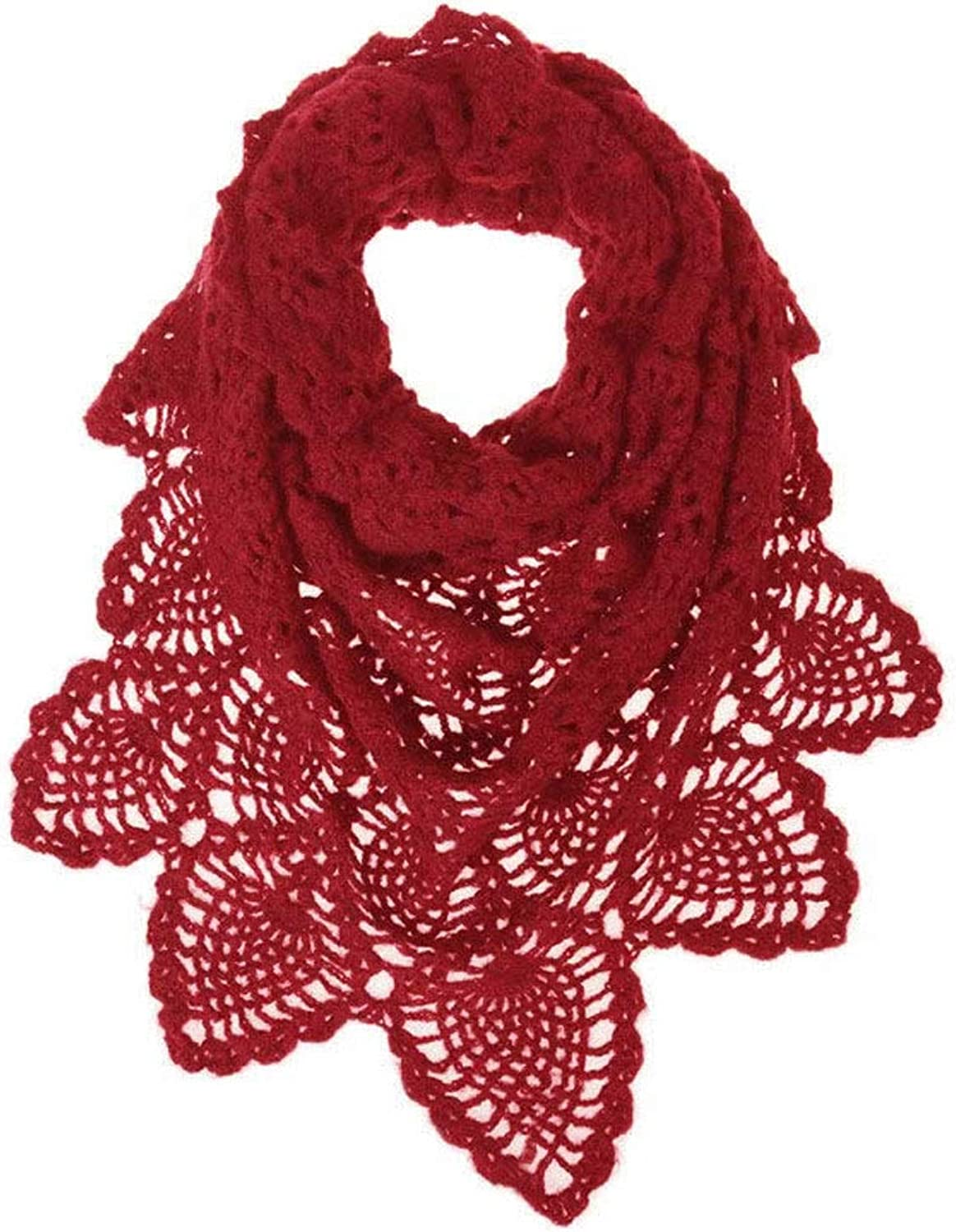 LBY Soft and Comfortable Spring and Autumn Thin Scarf Openwork Design Shawl Handmade Crochet Shawl Scarf (color   RED)