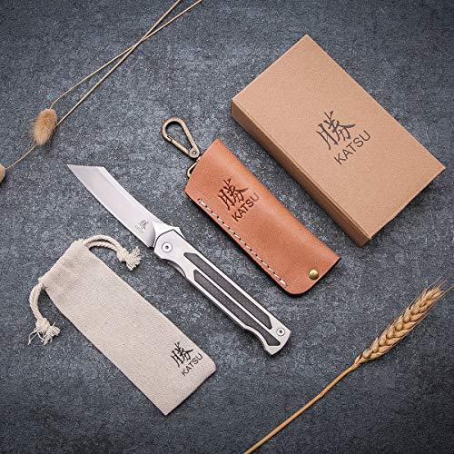 KATSU Camping Pocket Folding Japanese Knife, Titanium & Carbon Fiber Handle, Frame Lock, Stonewashed Cleaver Razor Blade, Leather Sheath