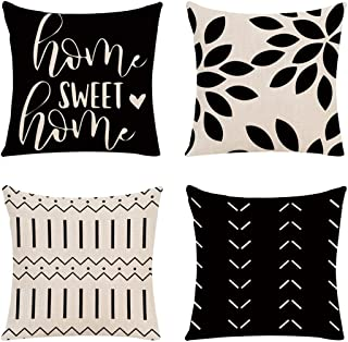 Mokde Mondge Home Decor Pillow Covers 18x18 Set of 4 Modern Sofa Decorative Throw Pillow Covers Linen Fabric Pillow Case f...
