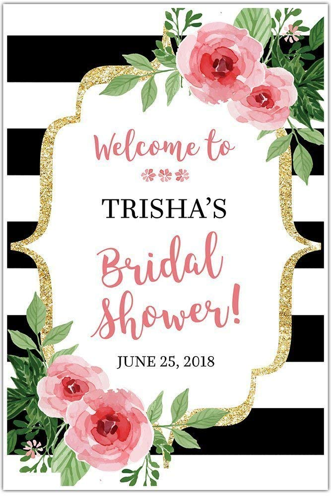 Black OFFicial site and White Striped Floral Welcome Popular brand in the world Bridal Sign Shower - for