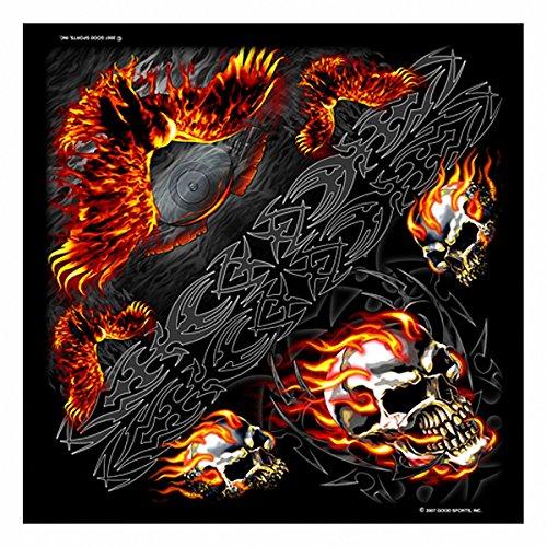 Daywalker Bikestuff Bandana • Kopftuch • Staubschutz • Halstuch • Skull Flammen Tribal Airbrush Motiv • V-Twin • Adler