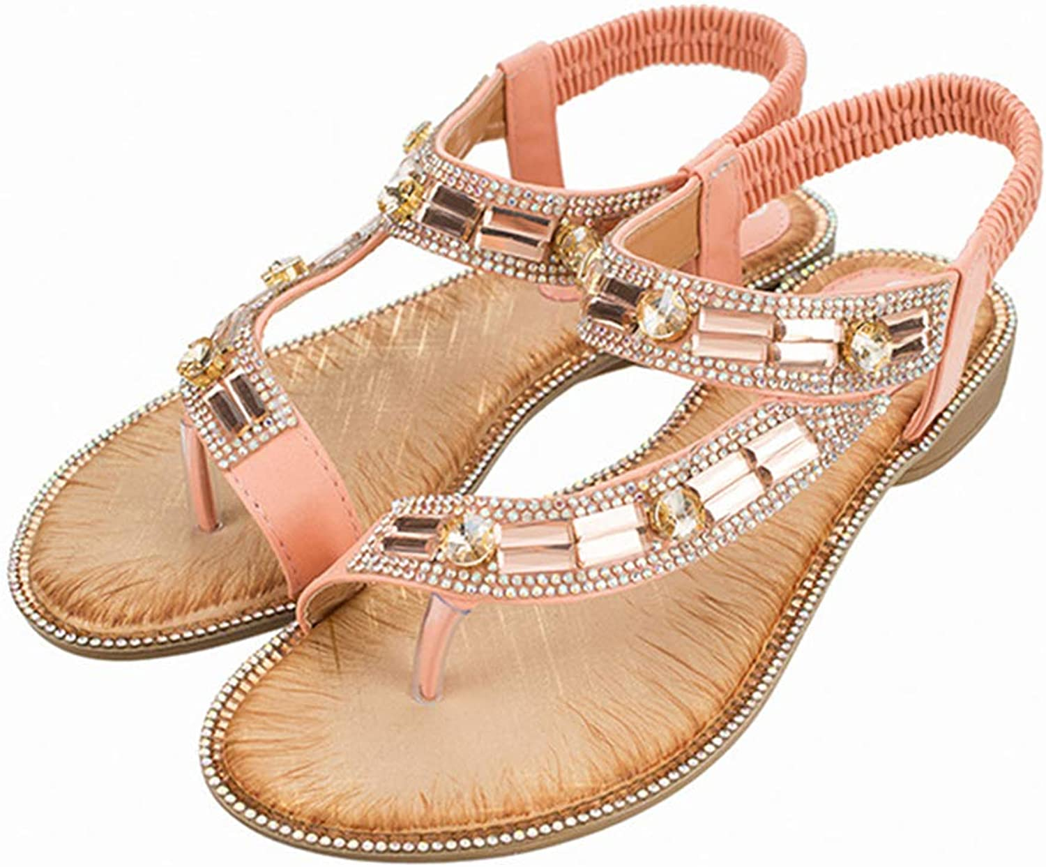 Mubeuo Women's Leather Outdoor Jeweled Thong Sandals Leisure Sandles
