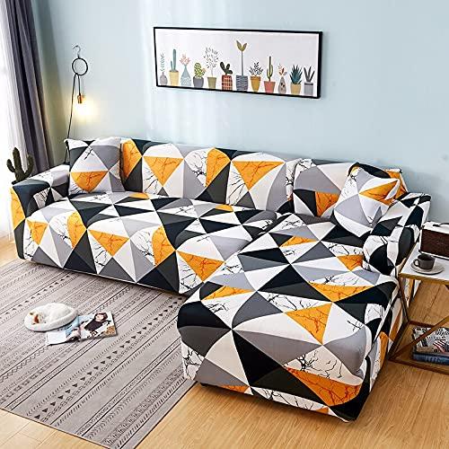WXQY Funda de sofá elástica Funda de sofá geométrica protección para Mascotas Funda de sofá de Esquina en Forma de L Funda de sofá Antideslizante combinación A5 4 plazas