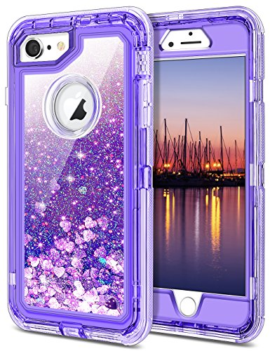 JAKPAK iPhone 6 Case, iPhone 6S Case Shockproof Glitter Flowing Liquid Bling Sparkle Cover for Girl Woman Heavy Duty Full Body Protective Shell for iPhone 6S iPhone 6 4.7 inches Purple