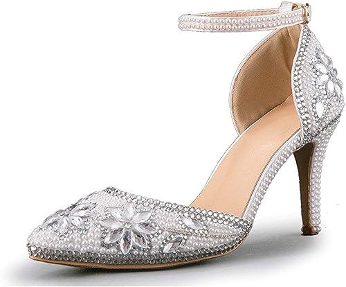 Qiusa Chaussures de Mariage Pointues pour Femmes, Chaussures de Performance perlées à la Main (Couleuré   argent-9cm Heel, Taille   4 UK)