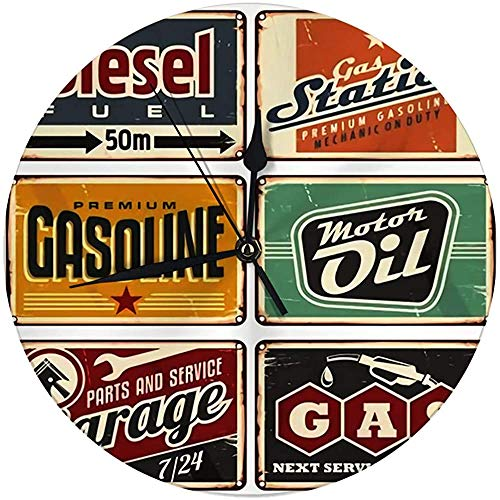 N/A decoratieve wandklok Big 9,8 inch tankstations en autoservice Vintage Tin Signs Collection ronde keukenklok