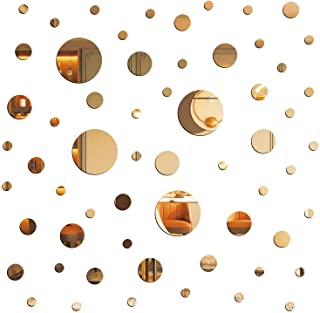 E EVENLIM 60 Pieces Gold Acrylic Round Circle Plastic Mirror DIY Wall Stickers Tiles Self Adhesive Decor for Living Dining...