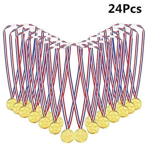 Byou Medaglie Oro,Medaglie Sportive di Plastica con Nastro per Bambini Giorno dello Sport Festa Gioco Giocattoli Premi 24 pacchetti