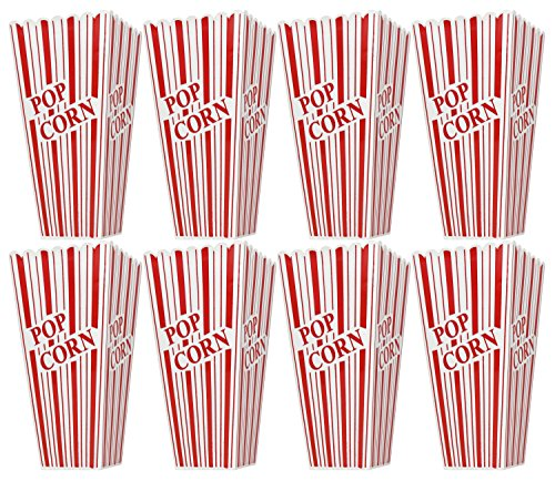 Product Image 1: Set of 8 Popcorn Plastic Container Box Tub Bowl – Presentation is Everything