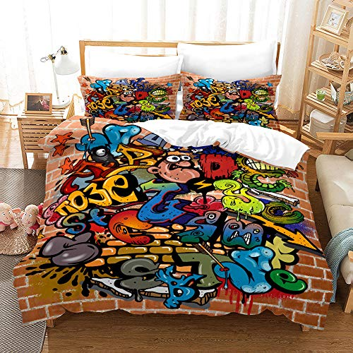 Bedclothes-Blanket Funda nórdica 3D Lila,3D de impresión de Tres Piezas Conjuntos de Almohada Conjuntos de Almohada Hip Hop Tenden Graffiti-5_260 * 230cm
