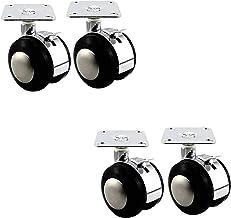 4 stks Meubelwielen, Flat Swivel Castor Wheel, Swivel Casters met remmen, Legering Materiaal Beugel, voor bureau, bestands...
