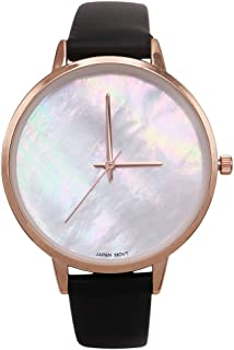 Rosemarie Collections Women's Exquisite Fashion Watch with Mother of Pearl Face and Leather Band