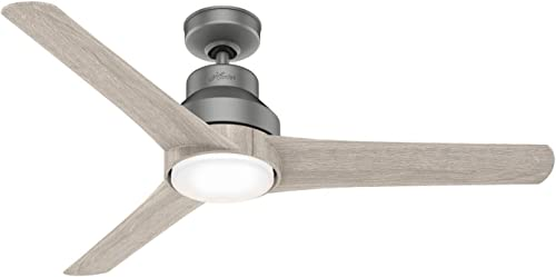 """high quality Hunter discount Lakemont Indoor online sale / Outdoor Ceiling Fan with LED Light and Remote Control, 52"""", Matte Silver sale"""