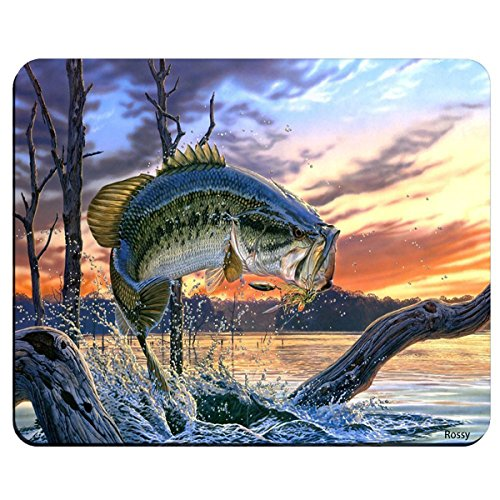 Fishing Bass Mouth Rectangle Non-Slip Rubber Gaming Mouse Pad, Mouse Mat, Mousepad MP4124