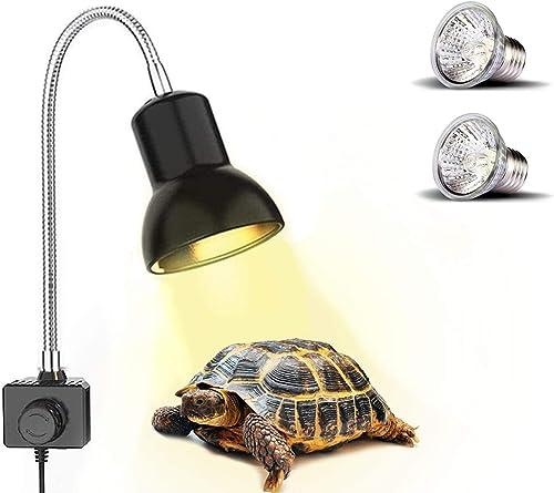 PewinGo Lámpara para Tortuga, Lámpara de Reptiles y Anfibios con 2 Bombillas de Luz Solar UVA UVB de 25 W y Abrazader...