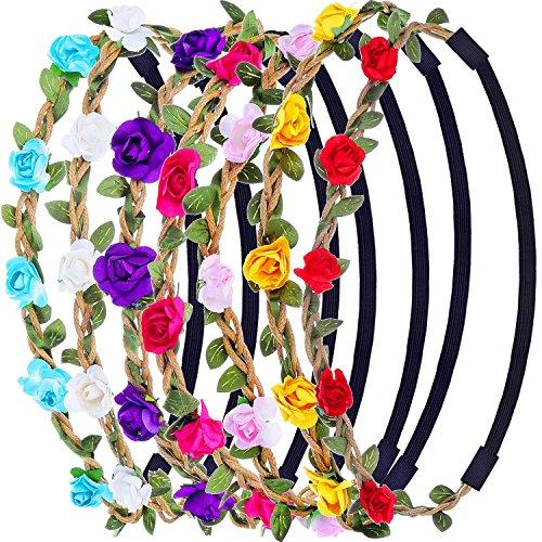 Romote 7 Stück Rose Blume Stirnband Haarband für Frauen Mädchen Haarschmuck (zufällige Farbe)