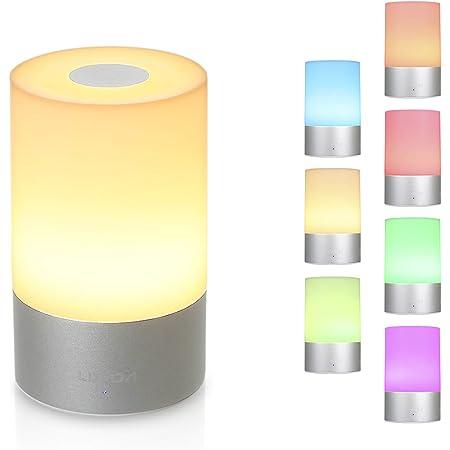LED Nachttischlampe -Akku Touch Sensor Tischlampe Nachtlicht Mit RGB Licht