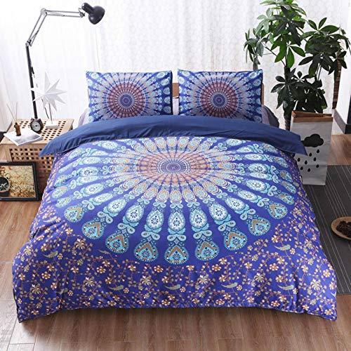 Lzcaure, set di biancheria da letto con mandala in morbido twill stampa boemo copripiumino con federe facile da pulire trapunta