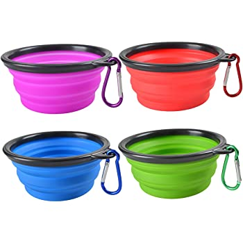 Collapsible Dog Bowl,Silicone Portable Foldable Water Bowls with Carabiner Clip for Travel (4 Pack)