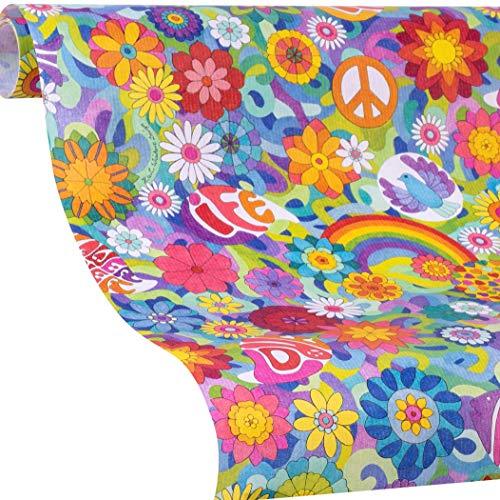 FLOWER POWER Geschenkpapier - Blumen Geschenkpapier Rolle - 5m + gratis 9x Geschenkanhänger, Mädchen & Jungs, Hippies - Geburtstag, Weihnachten, Ostern, Einschulung