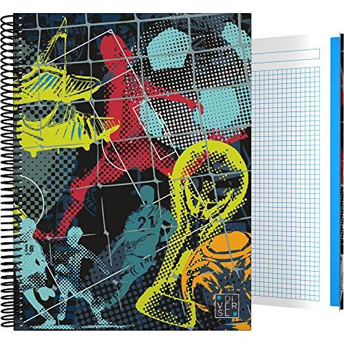 Grafoplás 16501996 Colección Diverse Cuaderno Escolar, Cuadriculado 5 Mm, Modelo Fútbol, A4