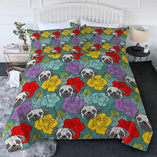 Evvaceo Child Bedding Set Duvet Cover And Pillowcase Color Rose Flower Animal Pug Pattern 200 Cm X 200 Cm 3D Print Bedding 3-Piece Set Zipper Closure Teens Boy Girl Baby Superfine Fiber P(Double)