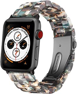 Wongeto Resin Strap Compatible with Apple Watch Band 38mm 40mm Series 5/4/3/2/1 Women Men with Stainless Steel Buckle, iWatch Replacement Wristband Strap (Blue, 38mm/40mm)