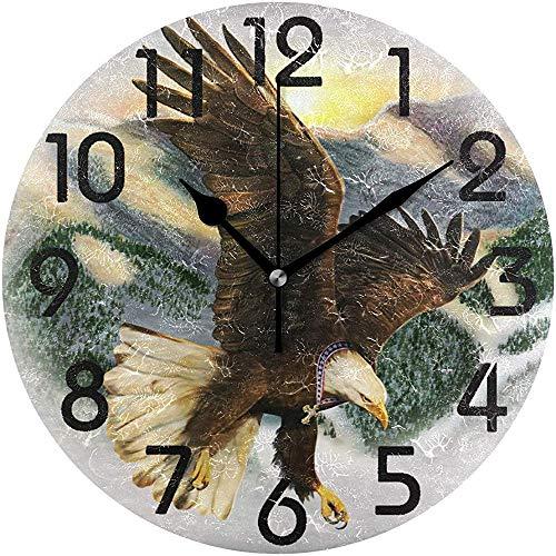 Cy-ril Vautour élégant avec Croix Peinture Impression Horloge Murale Ronde décoratif Batterie fonctionnant au Calme Horloge de Bureau pour la Maison, Bureau, école