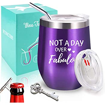 Wine Tumbler with Lid and Straw, FUNCUBE 12oz Stainless Steel Double Insulated Tumbler Cup for Hot or Cold Drinks, Outdoor Stemless Unbreakable Coffee Mug + Key Bottle Opener (Purple)