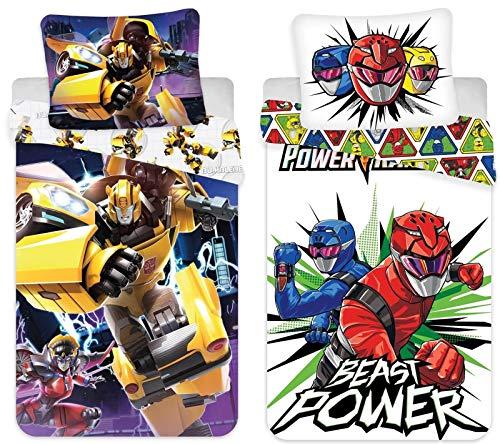 rainbowFUN.de Transformers & Power Rangers - Juego de cama (2 unidades, 135 x 200 cm, 80 x 80 cm), diseño de Transformers y Power Rangers