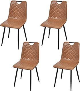 Belleashy Sillas De Comedor Sillas De Comedor De Cuero 4 Piezas Marrón Claro Universal Stretch Chair para La Ceremonia De La Cocina