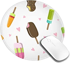 Emonye Ice Cream Seamless Pattern Delicious Sweet Vector Image Mouse Pad Round 200 * 200 * 3Mm Protective Desk Pad Waterproof Non-Slip Writing Gaming Mat For Office Home Double Side