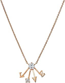 "Blue by Betsey Johnson Rose Gold and CZ ""Love"" Pendant Necklace"
