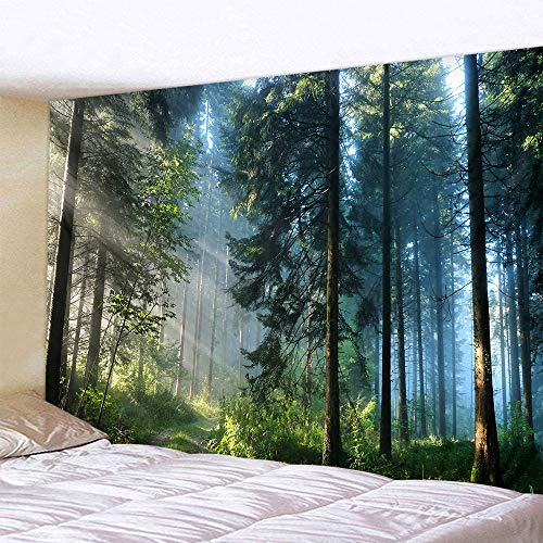 Naturer Wald Wandteppich 180x230 Baum Sonnenaufgang Tapestry Landschaft Dschungel Wandbehang Tapisserie