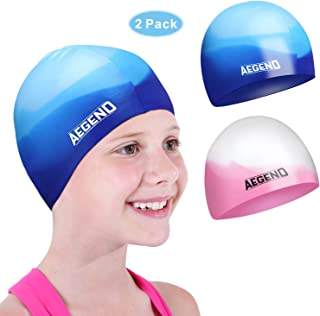 aegend 2 Pack Swim Cap for (Age 2-12), Durable Silicone Swimming Cap for Kids Youths, Comfortable Fit for Long Hair and Short Hair, 5 Colors