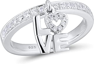 Silver Love Heart Dangling CZ Ring for Women 925 Sterling Silver Rhodium Rose Gold White Gold Cubic Zirconia Stone Ring