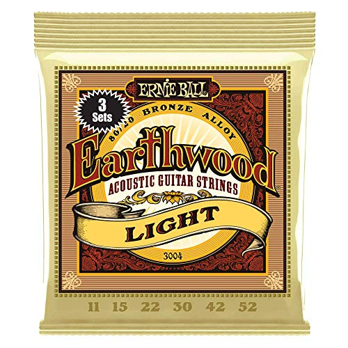 Ernie Ball Earthwood Light 80/20 Bronze Sets, .011 - .052 (3 Pack)