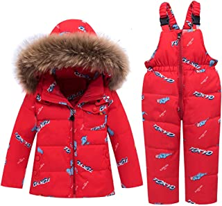 WESIDOM Baby Boys Girls Snowsuit,Toddler Winter Outfit Sets Kids Hooded Artificial Fur Down Jacket Coat and Ski Bib Pants