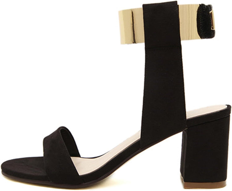 Ladiamonddiva Sandals 2017 Summer Thick Heel Sandals Women Fashion Women's shoes Metal Quality Nubuck Leather High Heels Sandals Size 35-40