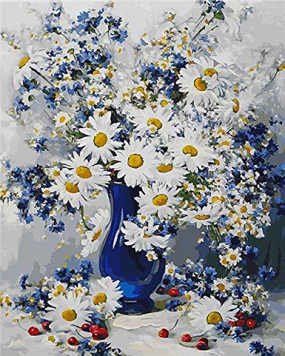 Olieverfschilderij door cijfers Set Bloemen DIY Frame Decor voor Home Kleurplaten door cijfers Vaas Acryl Verf Handgeschilderd Gift 40X50 framed 40x50cm