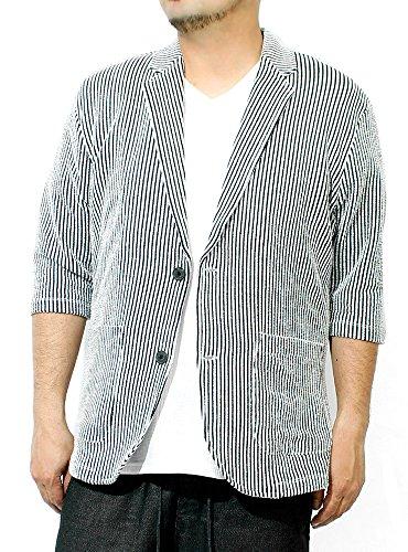 テーラードジャケット メンズ 大きいサイズ 七分袖 シアサッカー ストレッチ サマージャケット M ストライプ