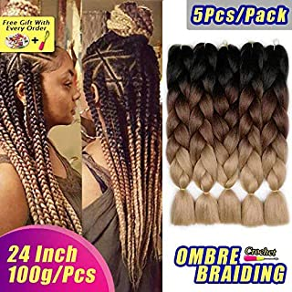 AIDUSA Ombre Braiding Hair 5pcs Synthetic Braids Hair 24 Inch 3 Tone Ombre Braiding Crochet Braids Hair Extensions 100g (#53 Black to Brown to Blonde)
