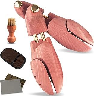 [yonxiu] シューキーパー シューツリー 木製 24.5-29.5cm対応 高級レッドシダー ブラシ・サンドペーパー・ムートン靴磨きクロス付 繋がる木紋 シワ伸ばし 型崩れ防止 調湿・脱臭・殺菌抗菌・香り