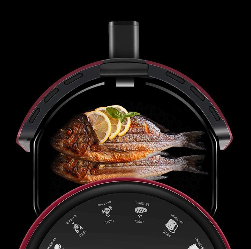 Wghz Friteuse électrique 1200 W friteuse à air numérique LED écran Tactile minuterie contrôle de la température friteuse Haute Performance adaptée à la Cuisine Rouge Black