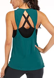 Fihapyli Women's Open Back Yoga Shirts Sleeveless Workout Tops for Women Racerback Tank Yoga Tops Fitness Muscle Tank