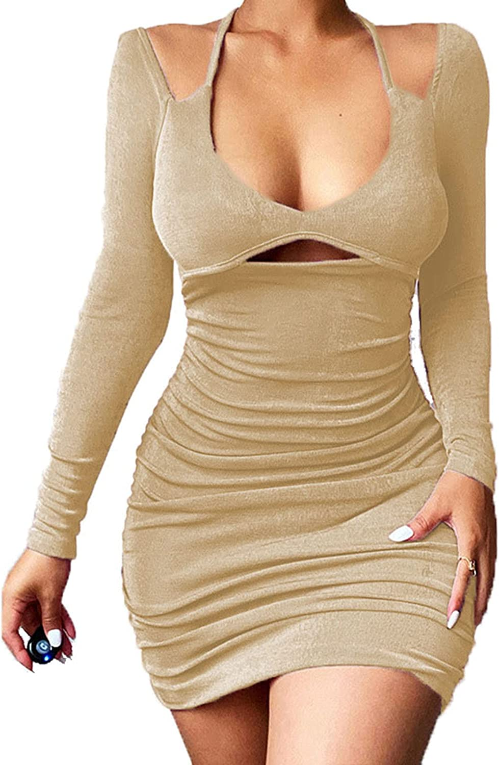 Women's Sexy Bodycon Halter Backless Long Sleeve Rucked Party Club Mini Dress