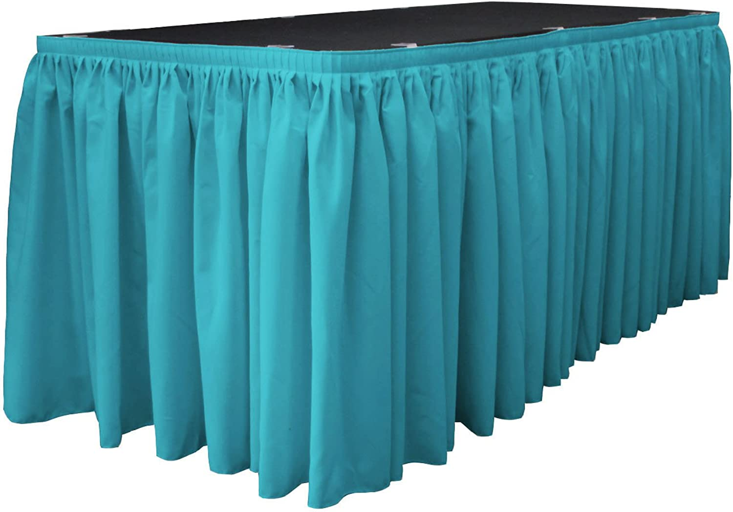 LA Linen Polyester Poplin Pleated Table Skirt with 10 Large Clips, 14-Feet by 29-Inch, Dark Turquoise